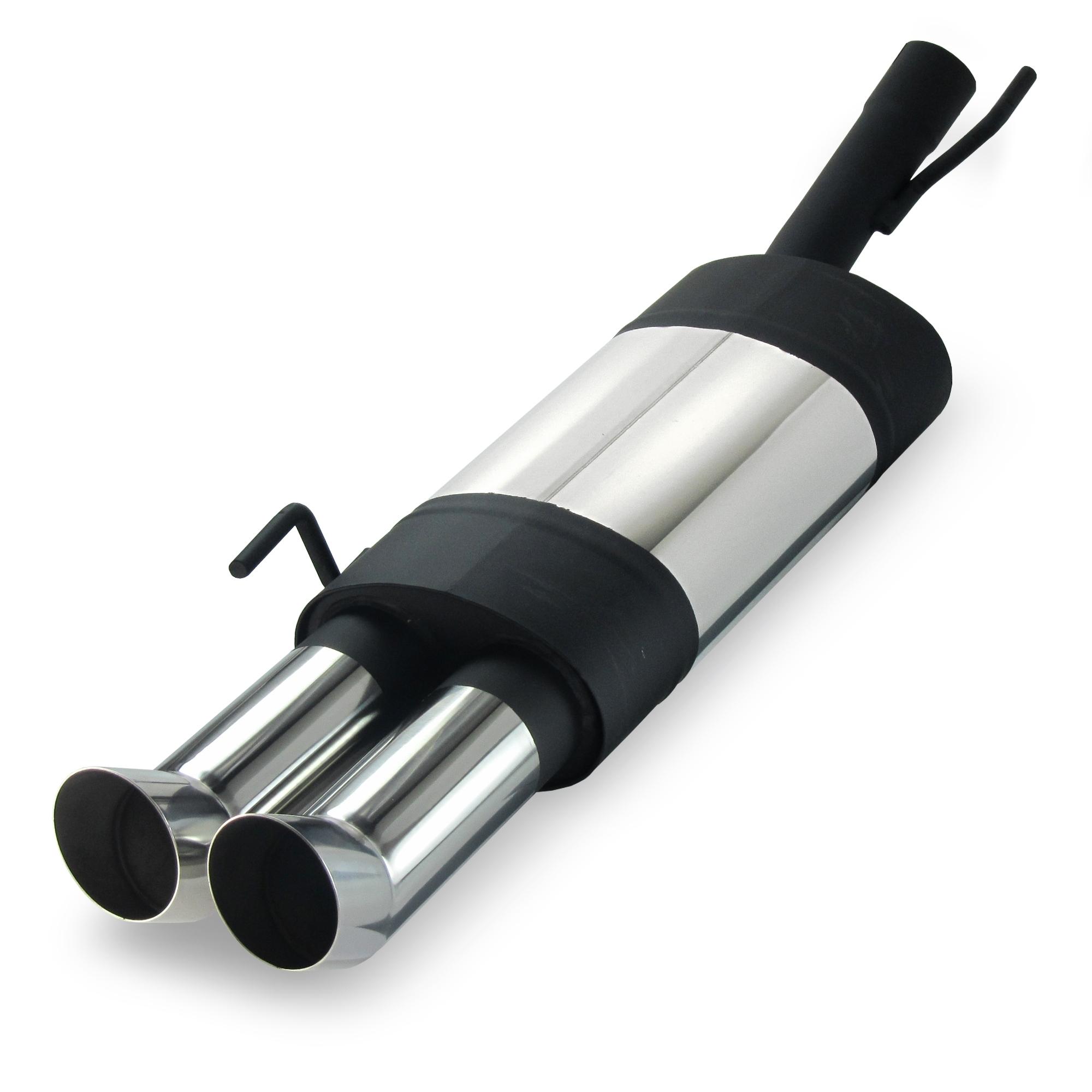 JOM Bagpotte rustfri stål med 2x76 mm afgange - DTM look. Til Golf 4 Convertable Udvendig tilbehør > Udstødning