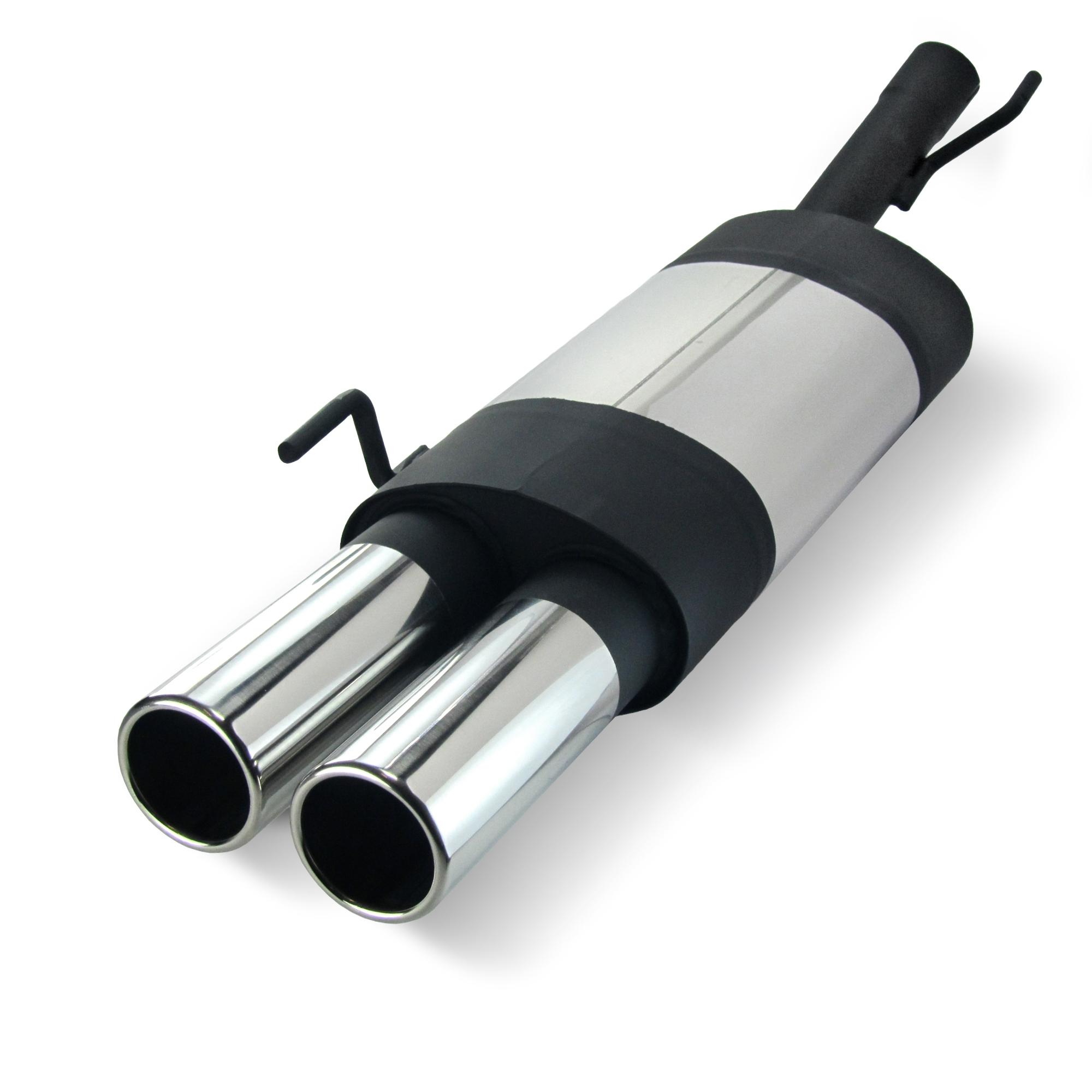 JOM Bagpotte rustfri stål med 2x76 mm lige afgange. Til VW Golf 3 og Golf 4 Convertable Udvendig tilbehør > Udstødning