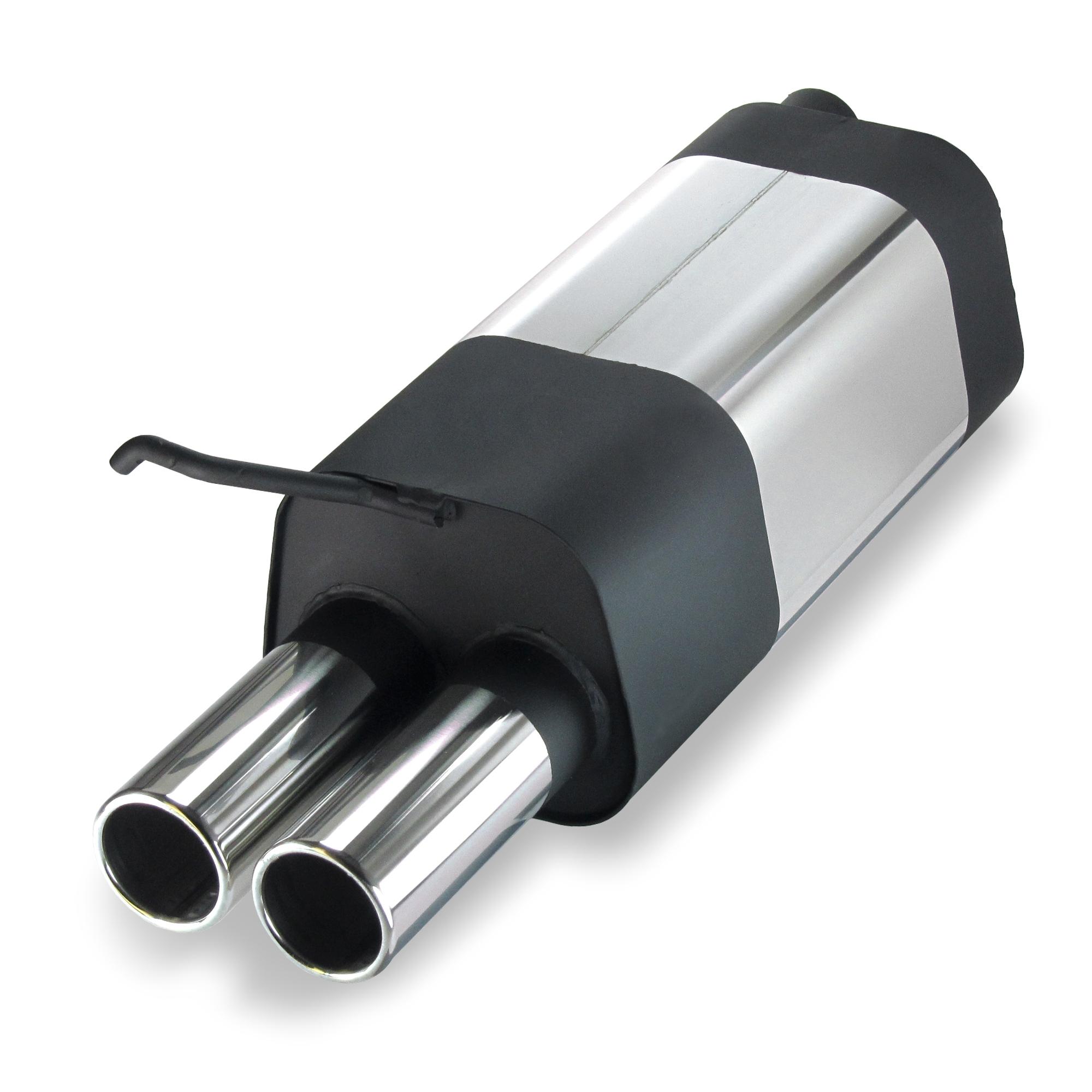 JOM Bagpotte rustfri stål med 2x76 mm lige afgange. Til VW Beetle Udvendig tilbehør > Udstødning