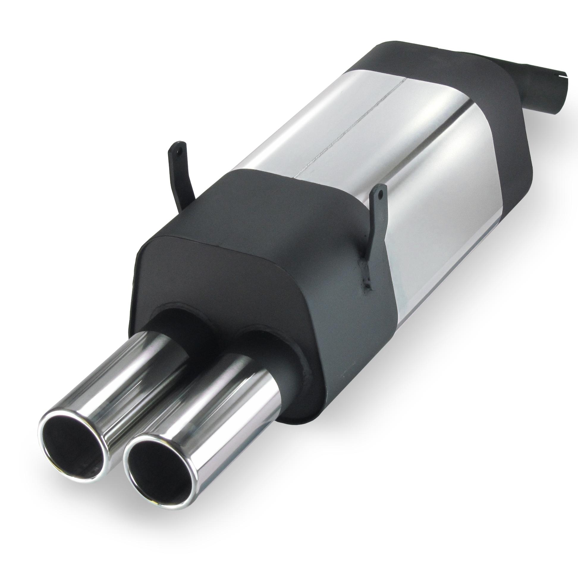 JOM Bagpotte rustfri stål med 2x76 mm lige afgange. Til BMW 3 serie E36 4 cylinder 316i og 318i Udvendig tilbehør > Udstødning