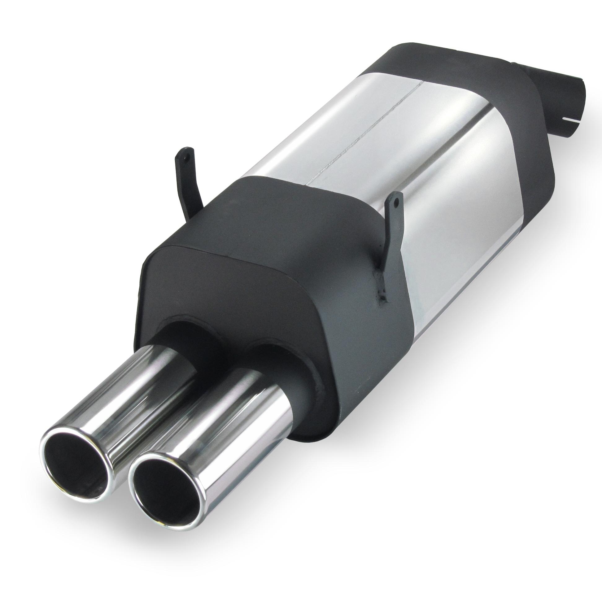 JOM Bagpotte rustfri stål med 2x76 mm lige afgange. Til BMW 3 serie E36 320i-323i
