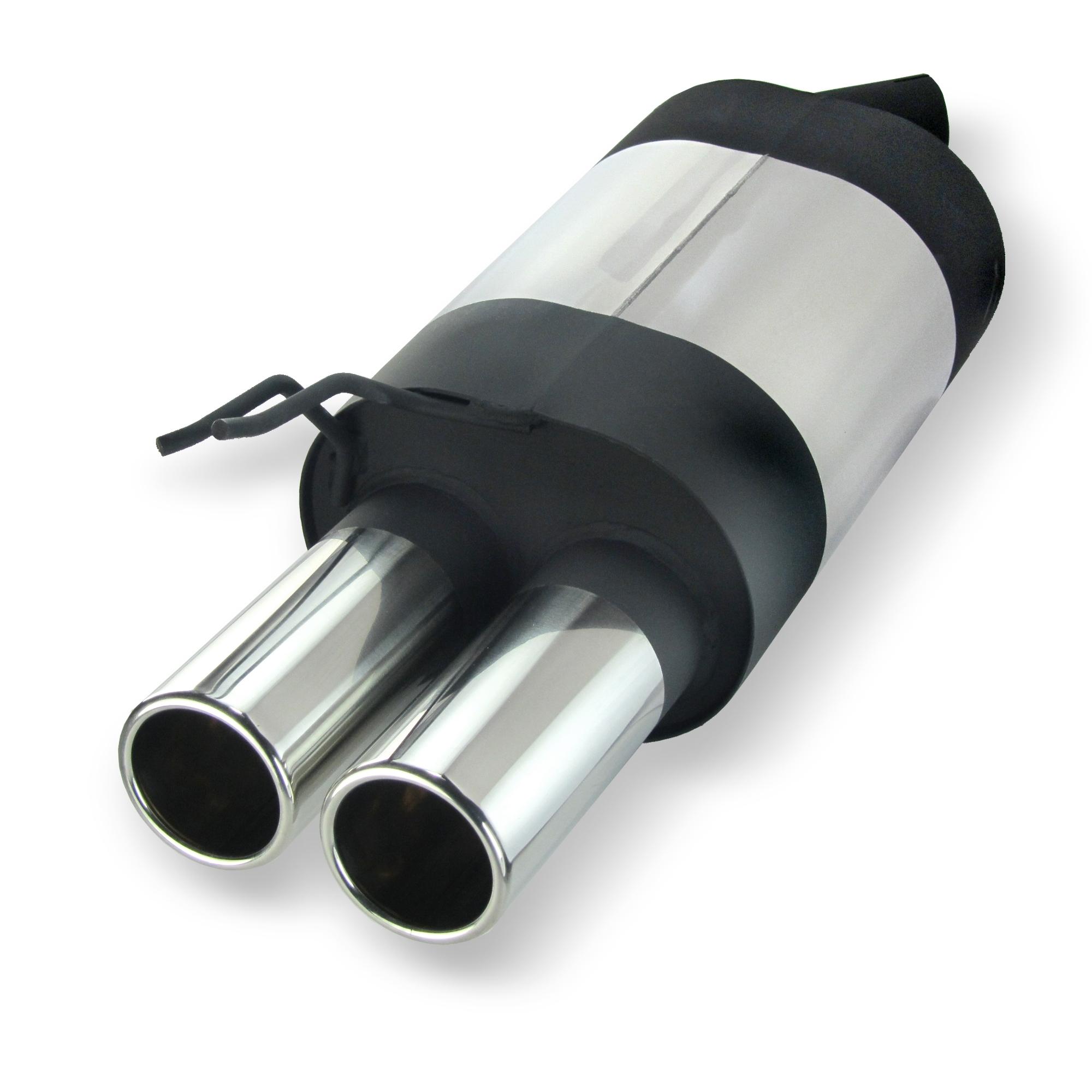 JOM Bagpotte rustfri stål med 2x76 mm lige afgange. Til Renault Twingo 1 Udvendig tilbehør > Udstødning