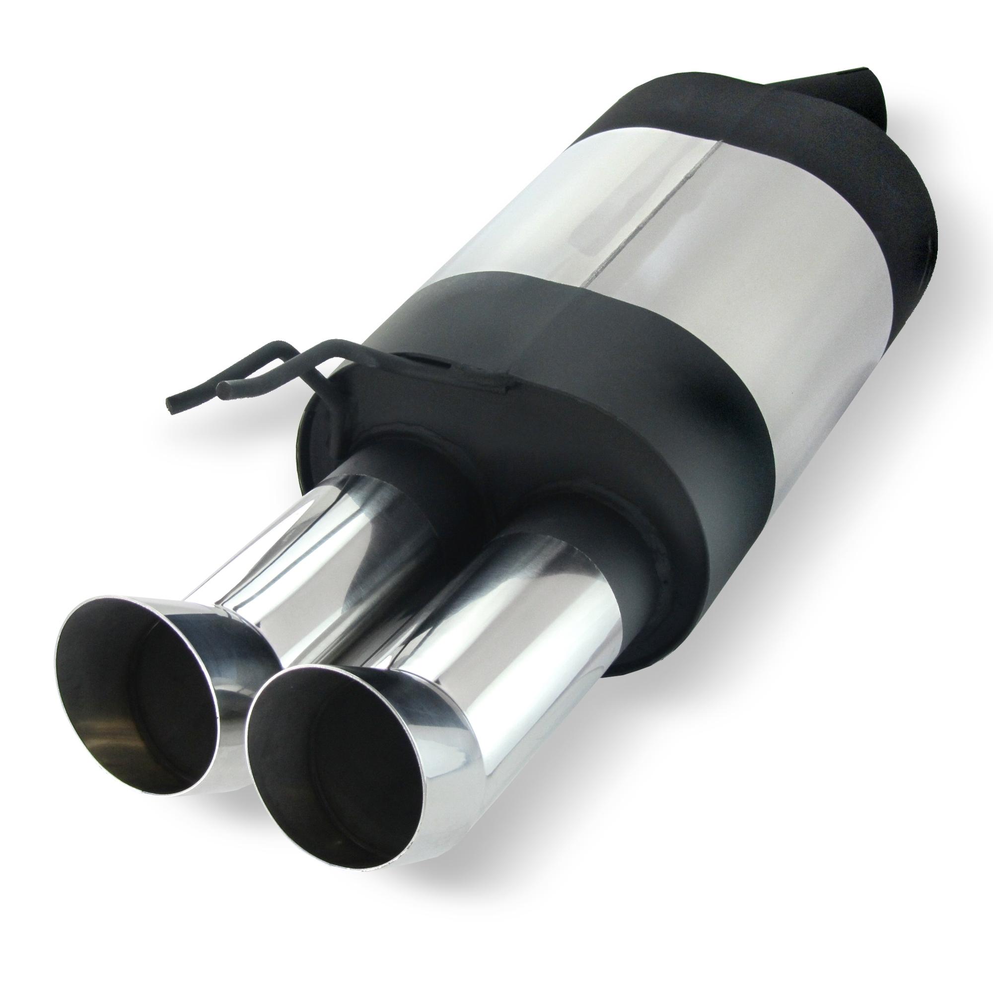 JOM Bagpotte rustfri stål med 2x76 mm afgange - DTM look. Til Renault Twingo 1 Udvendig tilbehør > Udstødning