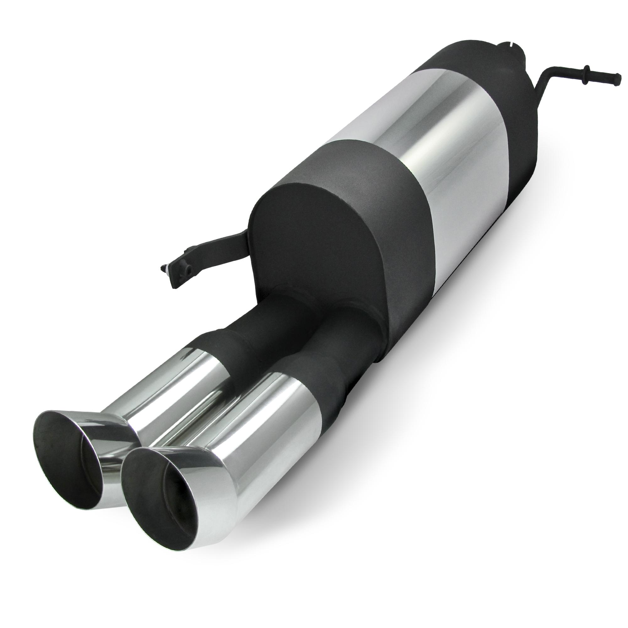 JOM Bagpotte rustfri stål med 2x76 mm afgange - DTM look. Til VW Polo 9N and 9N3 Udvendig tilbehør > Udstødning
