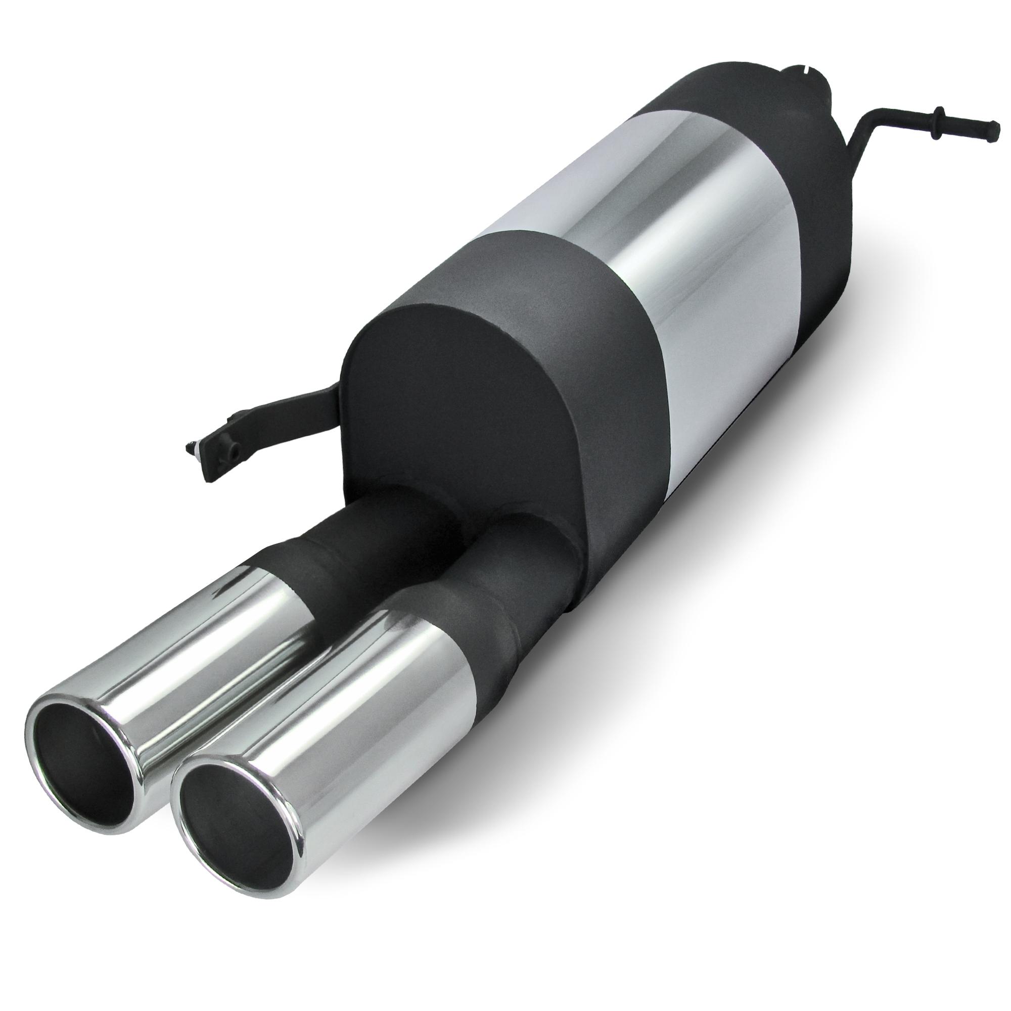 JOM Bagpotte rustfri stål med 2x76 mm lige afgange. Til VW Polo 9N and 9N3 Udvendig tilbehør > Udstødning