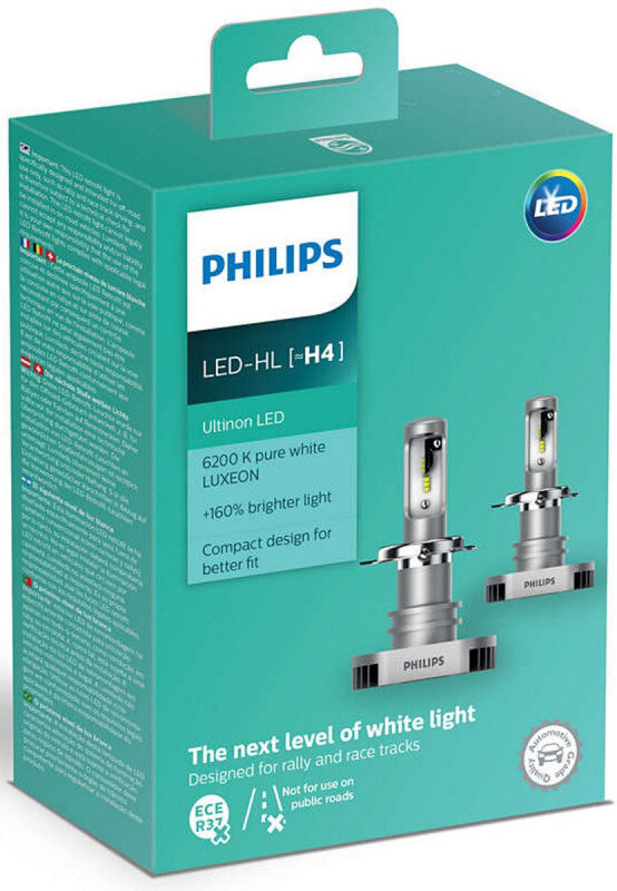 Philips Ultinon H4 LED +160% mere lys (2 stk.) Philips Ultinon LED +160%
