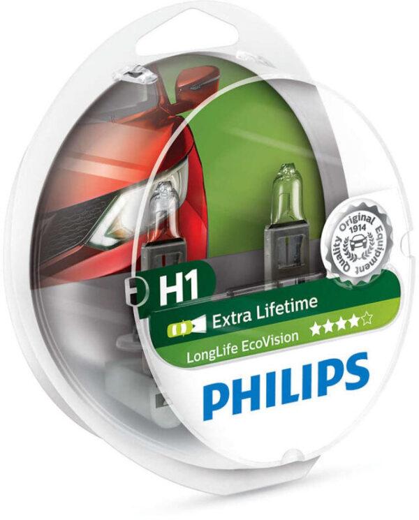 Philips H1 Longlife EcoVision pærer med op til 4x længere levetid (2 stk) Philips LongLife EcoVision x4