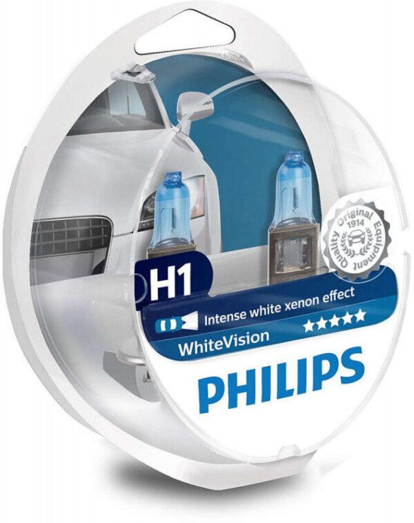 Philips White Vision H1 pære med Xenon effekt & +60% mere lys 2 stk + (2 stk. W5W) Philips White Vision +60% mere lys