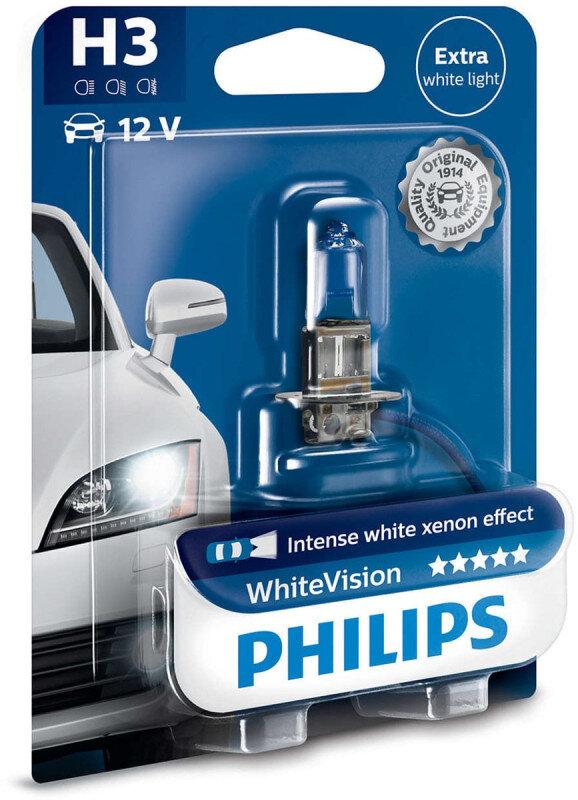 Philips White Vision H3 pære med Xenon effekt & +60% mere lys (1 stk) Philips White Vision +60% mere lys