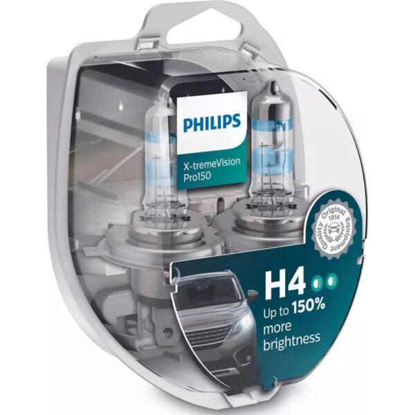 Philips X-Treme Vision Pro150 H4 pærer +150% mere lys (2 stk) Philips Xtreme Vision Pro +150%