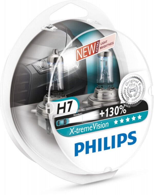 Philips H7 Xtreme Vision pærer +130% mere lys ( 2 stk) Philips Xtreme Vision +130%