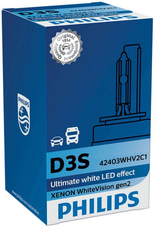 Philips D3S WhiteVision gen2 Xenonpære med +20% mere lys (1 stk) Xenon Pærer