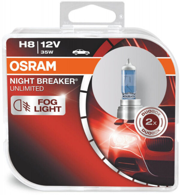 Osram Night Breaker Unlimited H8 pærer +110% mere lys (2 stk) pakke Osram Night Breaker Unlimited +110%