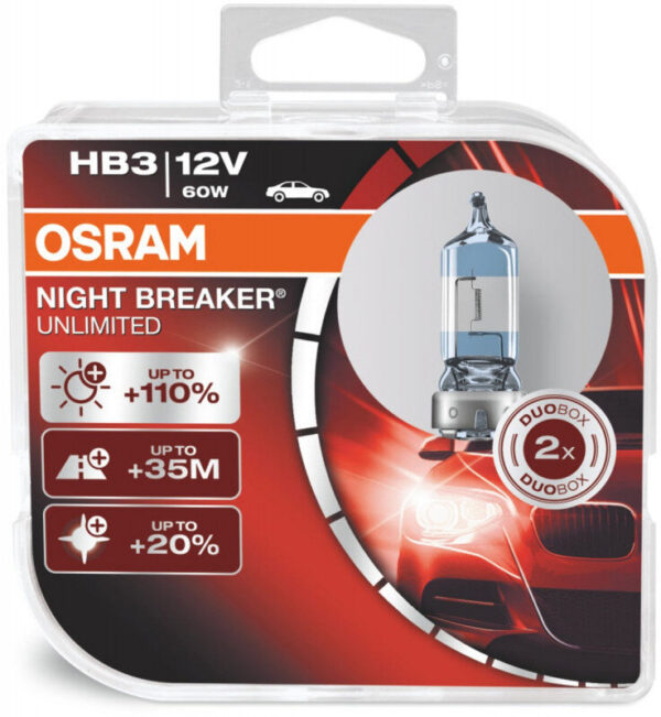 Osram Night Breaker Unlimited HB3 pærer +110% mere lys (2 stk) pakke Osram Night Breaker Unlimited +110%