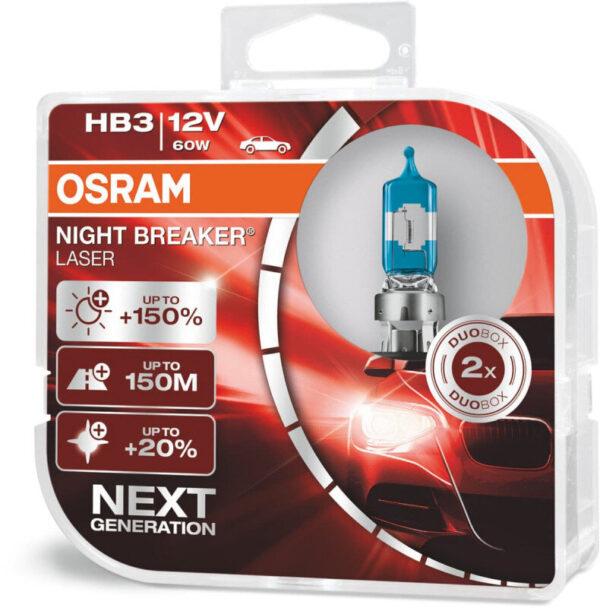 Osram Night Breaker Laser HB3 pærer +150% mere lys (2 stk) pakke Osram Night Breaker Laser +150%