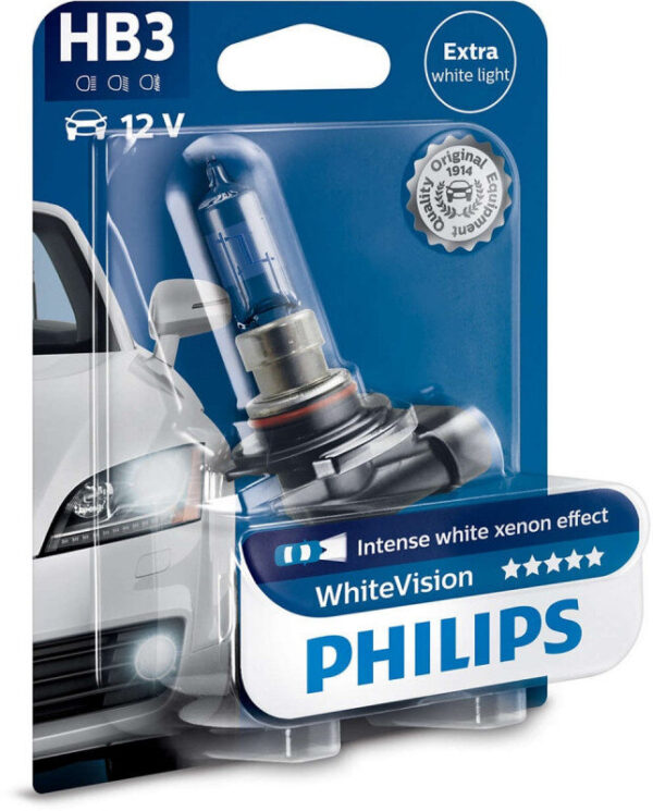 Philips White Vision HB3 pære med Xenon Effekt & +60% mere lys (1 stk) Philips White Vision +60% mere lys