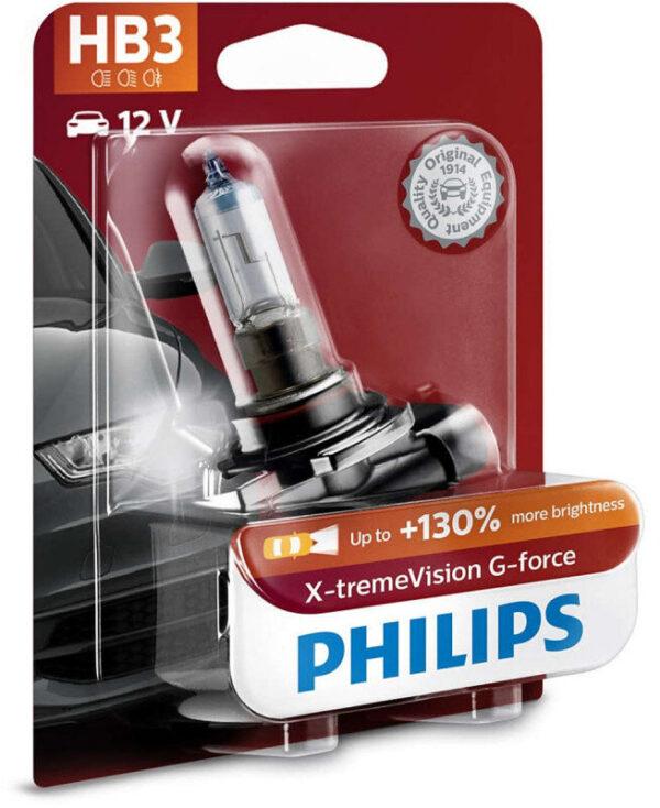 Philips HB3 X-tremeVision G-force pærer +130% mere lys ( 1 stk) Philips Xtreme Vision G-force +130%