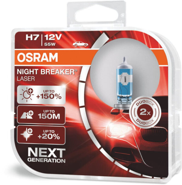 Osram Night Breaker Laser H7 pærer +150% mere lys (2 stk) pakke Osram Night Breaker Laser +150%