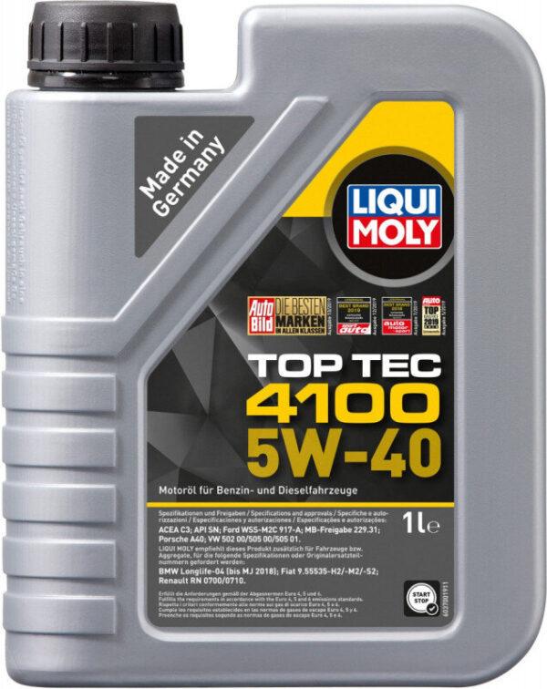 Top tec 4100 Liqui moly 5W40 Motorolie i 1 liters dunk Top tec motorolie fra Liqui Moly