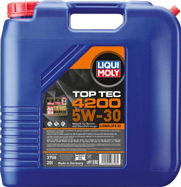 Top tec 4200 Liqui moly 5W30 Motorolie i 20 liters dunk Top tec motorolie fra Liqui Moly
